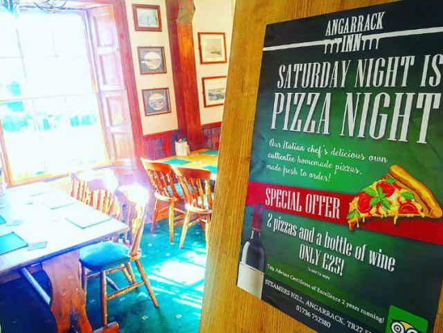 Don't forget tonight it's Pizza night as well as our main menu ! 2 pizza and a bottle of wine for only £25